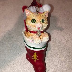 Orange ginger cat in stocking ornament NWT